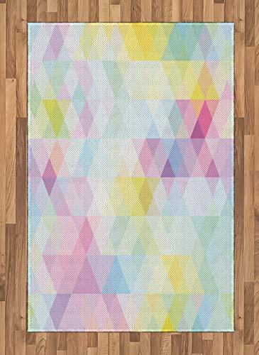 ABAKUHAUS Abstract Tapijt, Geometrische ruit Art, vlak Geweven Vloerkleed voor Woonkamer, Slaapkamer, Eetkamer, 120 x 180 cm, Veelkleurig