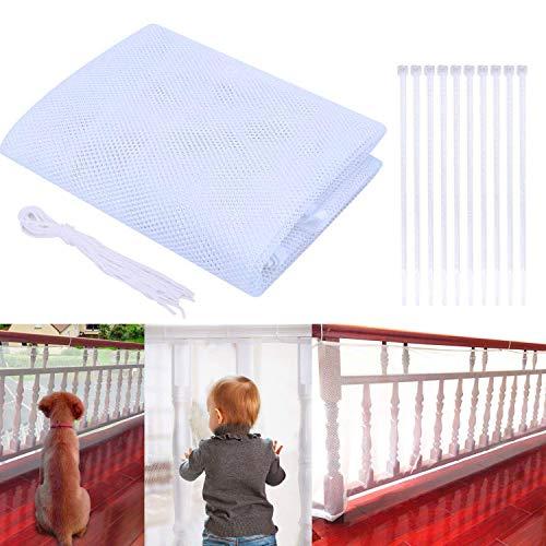 Red de Seguridad Malla 3 Metros Red de Protección del Balcón para Bebé Niños Mascotas, Malla de Seguridad para Escaleras Balcones Escaleras Patios, Protección Infantil (Blanco, 3M)