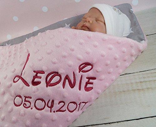 Babydecke mit Namen und Datum bestickt MINKY Baumwolle Füllung (75 x 100 cm, Sterne 2 - Hellrosa) (900101)