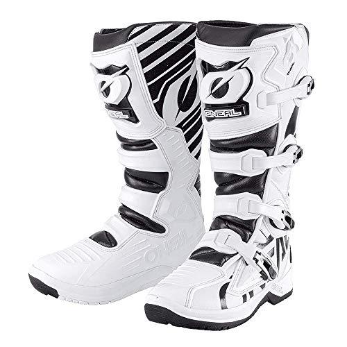 O\'NEAL | Motocross-Stiefel | Enduro Motorrad | Anti-Rutsch Außensohle für maximalen Grip, Ergonomischer Fersenbereich, Perforiertes Innenfutter | RMX Boot EU | Erwachsene | Schwarz-Weiß | Größe 43