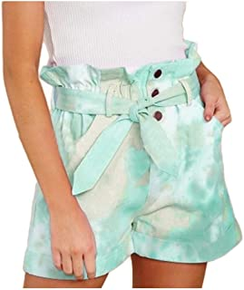 Comaba Women High Waisted Short Pant Summer Tie Dye Print Casual Shorts