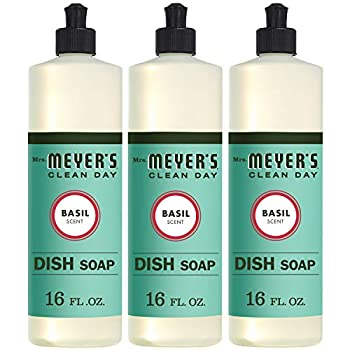 Mrs Meyer s Clean Day Liquid Dish Soap Cruelty Free Formula Basil Scent 16 oz- Pack of 3