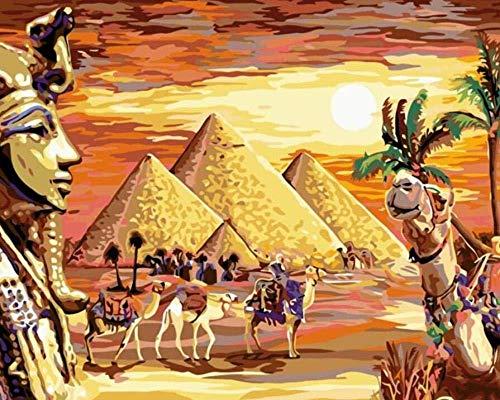 LSDEERE DIY Malen Nach Zahlen Ägypten Wüstenpyramide Für Erwachsene Und Kinder Vorgedruckt Leinwand Ölgemälde Kits Home Haus Dekor Mit Rahmenlose 16 X 20 Inch