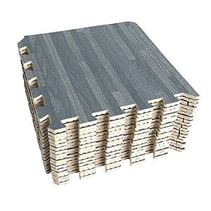 UMI. Essentials 1' x 1'(30cm x 30cm) Tapetes De Espuma De Que Se Enclavamiento (Grano de Madera) (9 Piezas Gris)