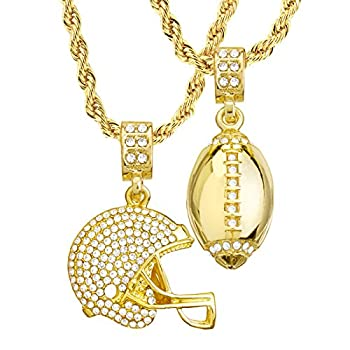 metaltree98 Mens 14kt Gold Plated Football & Football Helmet Pendant 4 mm 22  & 26  Double Rope Chain Set MHC 20 G