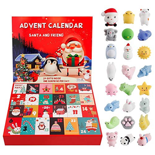 Dorhui Advent Calendar, 2020 Christmas Countdown Advent Calendar 24 Animals Squishy Toys for Kids Non-Toxic Cute and Adorable Party Favor Different Surprise for Every Day