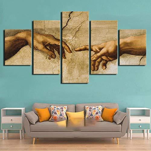37Tdfc 5 Piezas Lienzo para Pintar Creación Adán Mano Dios Cuadro en Lienzo 150 x 80 cm Impresión de Lienzo de Pared Cuadros Murales Decoracion Pared Salon Dormitorios Decoracion Modernos