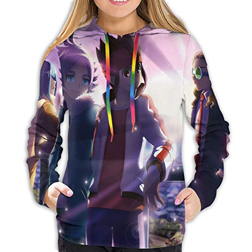 Mojikoma Chicas Teen Print Sudadera con Capucha Pullover Color Cuerda Casual Deportes Mujeres Inazuma Eleven Anime