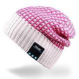Rotibox al aire libre de lujo Bluetooth Slouchy Beanie Hat Cap con auriculares estéreo de auriculares Auriculares de micrófono de altavoz manos libres de hablar para el iPhone iPad Samsung Android Smartphones, Regalos de Navidad - Rojo