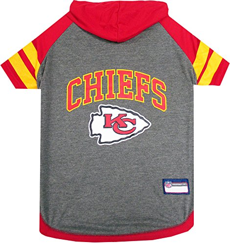 NFL Kansas City Chiefs Hoodie for Dogs & Cats. | NFL Football Licensed Dog Hoody Tee Shirt, Small| Sports Hoody T-Shirt for Pets | Licensed Sporty Dog Shirt