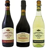 カビッキオーリ ランブルスコ 甘口 イタリア スパークリングワイン 3本セット (赤2本・白1本) 720mlx3本