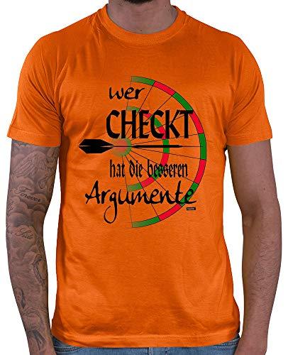 HARIZ Herren T-Shirt Wer Checkt Hat Die Besseren Argumente Dart Sprüche Dartscheibe WM Plus Geschenkkarten Orange XL