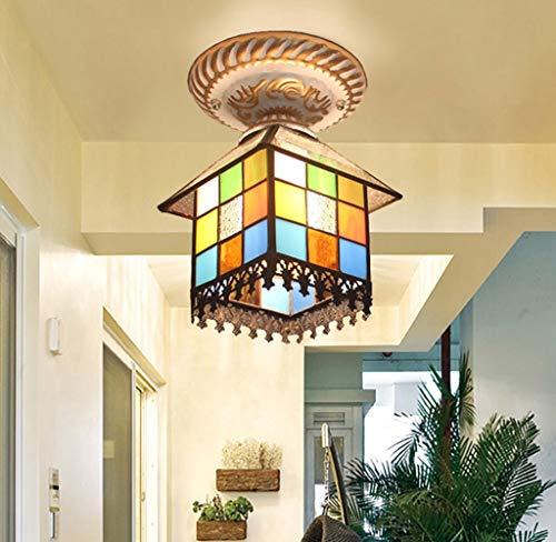 CJY-Light Deckenleuchten Vintage Mittelmeer Tiffany Stil Glasmalerei Unterputz Deckenleuchte Leuchte, Lampenschirm Anhänger hängende Beleuchtung für Wohnzimmer Schlafzimmer Korridor Gang