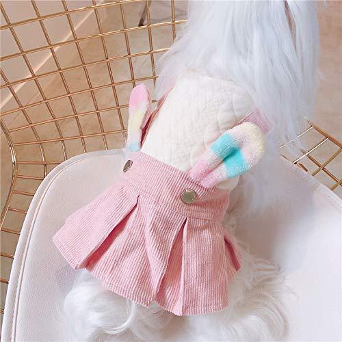 犬の服 ロンパース つなぎ サロペット風 カバーオール もこもこ 暖かい ペット用品 DOG服 犬服 犬用防寒着 ペット服 かわいい うさぎ (S)