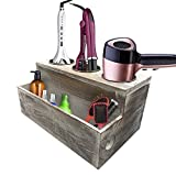 Wooden Hair Dryer Holder - White Grooming Tool Caddy with Rustic Natural Wood Pattern - 3 Holes for Curling Iron, Blower and 1 Compartment for Salon, Styling Products - With Magnetic Jewelry Box