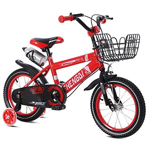 Kids Bike Child's Bike,Boy's Girl's Child Bike 12' 14' 16' 18' with Stabilisers and Basket - Children Bike,Red,12inch