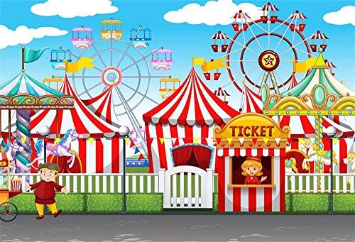 YongFoto 2,2x1,5m Toile de Fond Cirque Fête foraine Cour récréation des tentes Billetterie Carrousel Grande Roue Fond Studio Bannière Photo Party vidéo Enfant Photobooth Accessoires Photographie