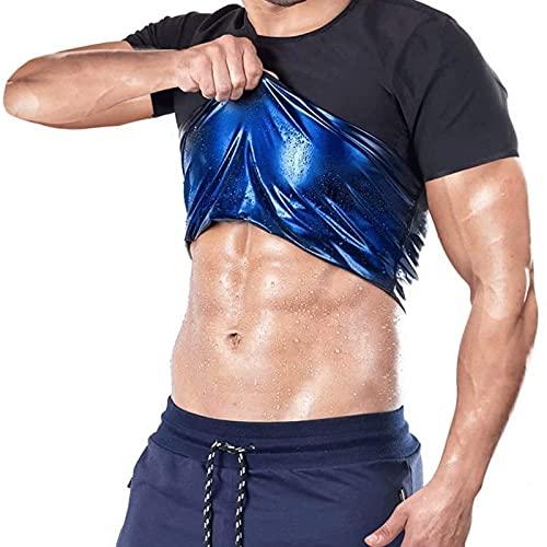 Yokbeer Sauna Chándal Hombre Corsé Entrenador de Cintura Body Top Shaper Camiseta Adelgazante Chaleco de Entrenamiento de Manga Corta Tight Belly Yoga Shapewear Control Abdominal