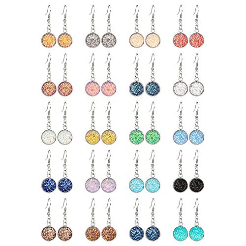 20 pares de pendientes colgantes de imitación coloridos pendientes de gota de resina de cristal multicolor para mujeres y niñas