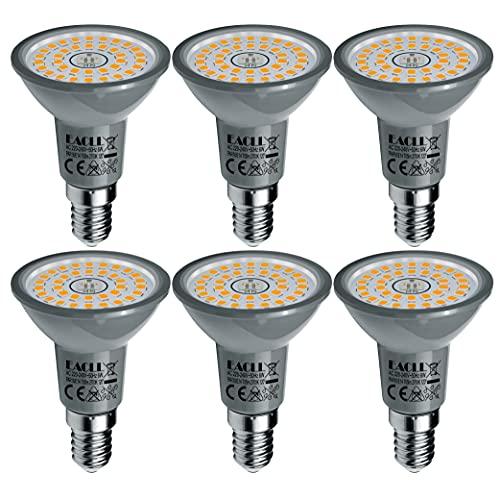 EACLL E14 LED Warmweiss 6W Ersetzt 60W R50 Halogen Glühlampe, 6er-Pack. 2700K 705 Lumen Leuchtmittel, AC 230V Flimmerfrei Energiesparlampe, Abstrahlwinkel 120° Strahler Nicht Dimmbar Reflektorlampen