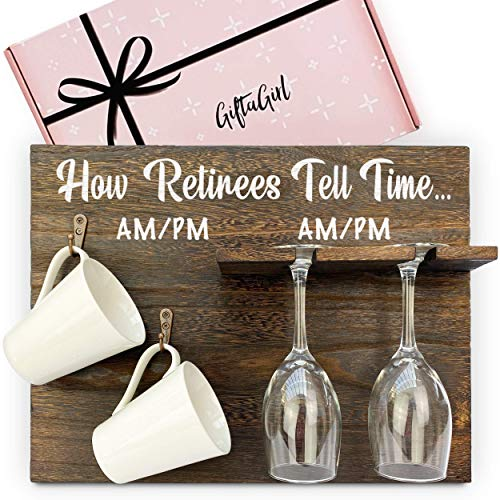 GIFTAGIRL Very Popular Retirement Gifts for Women 2021 - Gifts for The Retired Like Our How Retirees Tell Time, is a Fun and Stylish Happy Retirement Gift for Women 2021. Mugs - Glasses Not Included