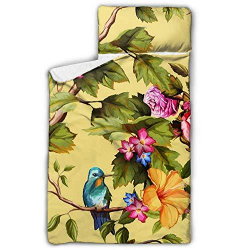 JINCAII Kolibris Rosen Rosen Blumen Schlafsäcke für Kinder Mädchen Kinder Schlafsack für Mädchen mit Decke und Kissen Rollup Design Ideal für Kindergarten Kindertagesstätten Übernachtungen 50