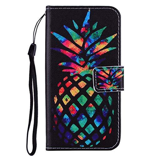 Felfy Kompatibel mit Galaxy S5 Hülle Tasche mit Kartenfach Bunt Muster Flip Handyhülle Leder PU Wallet Klapphülle Flip Book Case Schutzhülle mit Standfunktion,Ananas