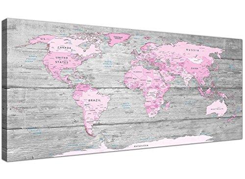 Wallfillers Lienzo decorativo para pared, diseño de mapa del Mundo Atlas (120 cm), color rosa y gris