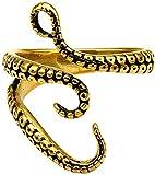 NC83 Acero inoxidable punk pulpo tentáculo monstruo marino Kraken calamar anillo de apertura para hombres ajustable-dorado