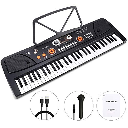 Kids Piano, 61 Key Portable Digital Piano Keyboard with Music Stand and...
