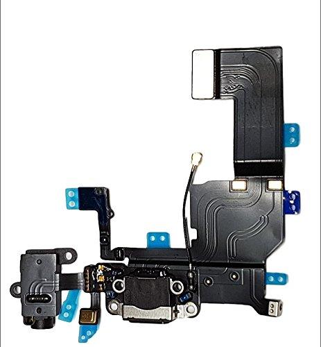 Smartex Connecteur de Charge Compatible avec iPhone 5C Noir – Câble Nappe de Rechange avec connecteur pour Microphone, Jack Audio, Bouton Home et écouteurs