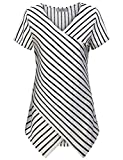 Vertical Striped Shirt Women, Womans Tops Cute Crossover V Neck Short Sleeve Comfort Lightweight Elasticity Stripe Tunic Blouses Career Boutique Clothing White L