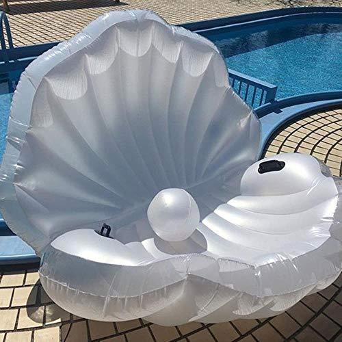 yamybox 170 cm riesige aufblasbare Muschel Pool Boje Sommer Wasser Luft Bett Liegestuhl Flip mit Perlmutt Muschelbrett, weiß schwarz Griff