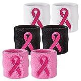 Suddora Pink Ribbon Wristbands - Breast Cancer Awareness Sweatband Pairs (Black)