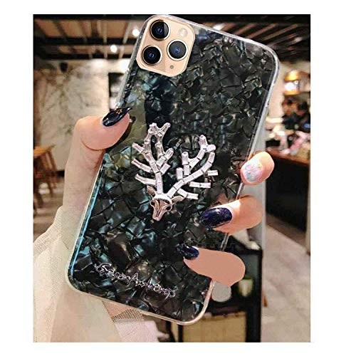 KC Crystals Looks Silicone Soft Shell Deer Head Back Cover for Apple iPhone 12 & Apple iPhone 12 Pro (Black)