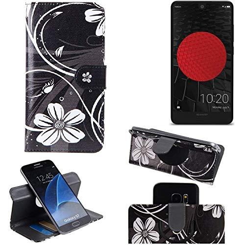 K-S-Trade Schutzhülle Für Sharp Aquos C10 Hülle 360° Wallet Hülle Schutz Hülle ''Flowers'' Smartphone Flip Cover Flipstyle Tasche Handyhülle Schwarz-weiß 1x