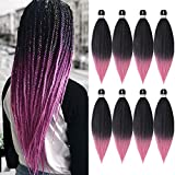 8 Packs Pre-Stretched Braiding Hair 20' Braids Professional Yaki Synthetic Hair for Crochet Twist (20' 8 Packs, T1B/Pink)