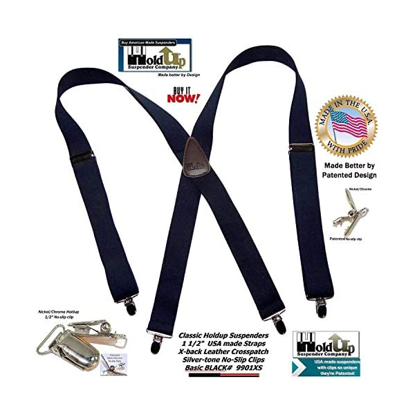 Hold-Ups 1 1/2″ Wide Classic Series Suspenders in X-back style w/Patented No-slip Silver Clips