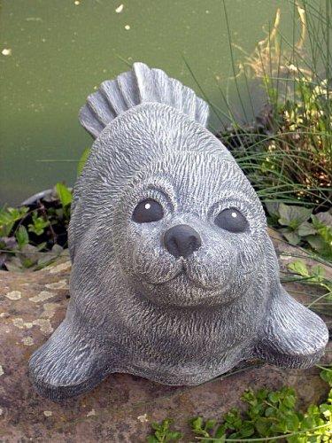 Tiefes Kunsthandwerk Steinfigur Seehund groß Schiefergrau, Deko Figur Teich Garten Stein frostsicher