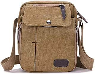 DIEBELLAU Men and Women Casual Small Messenger Bag Korean Canvas Bag Shoulder Bag Men Bag Outdoor Multi-Function Travel Bag Tide (Color : Khaki)