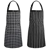 Adjustable Bib Apron,Resistant with 2 Pockets Cooking,Kitchen Aprons for Women Men,Water Oil Stain Resistant Chef Aprons (2 Pack - Stripe+Lattice)