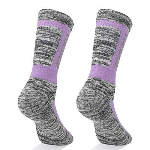 YUEDGE 5 Pairs Women's Cotton Cushion Performance Crew Sports Athletic Hiking Socks