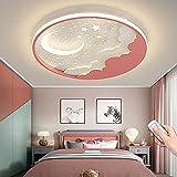 Lámpara De Techo LED Regulable Moderna Diseño Nubes De Estrella Y Luna Luz De Techo Con Control Remoto Habitación De Niños Sala De Estar Dormitorio Cocina Decoración Lámpara Colgante (Pink,50CM)