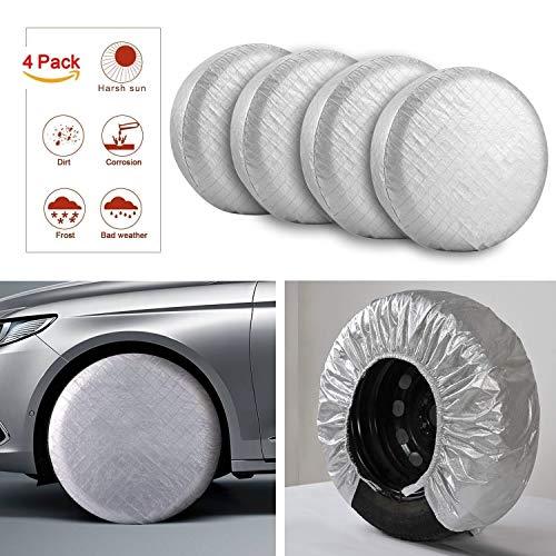 One Sight Reifenabdeckung mit 27-29 Zoll Durchmesser 4er-Set für Auto, Wohnwagen, Wohnmobil, LKW, Jeep, Aluminium Film Radabdeckung für Wasserdicht Schneeabgabe UV-Schutz