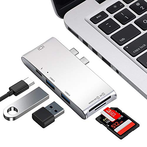 USB C Hub, 6 in 1 Aluminum Type C Hub Adapter, with 2 USB 3.0 Ports, TF/SD Card Reader, USB-C Power Delivery for MacBook Pro″ and MacBook 2015/2016/2017/2018