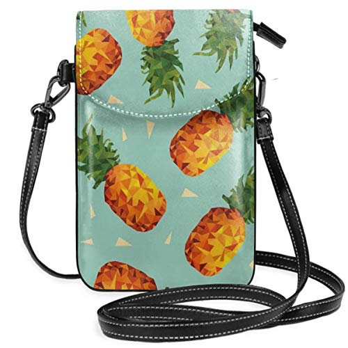Jiger Women Small Cell Phone Purse Crossbody,Poly Style Pineapples Motif Vintage Beach Summer Modern Illustration