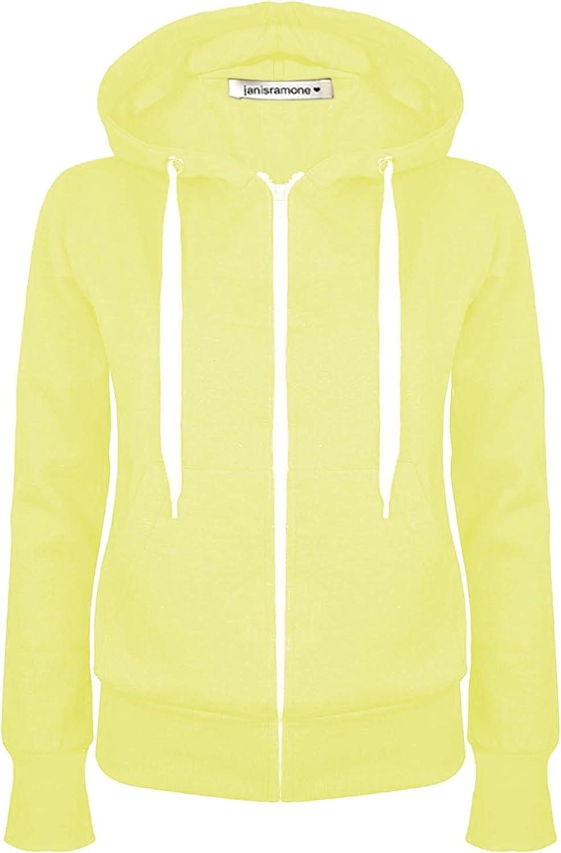New Womens Plain Hoodie Long Sleeve Zip Up Fleece Sweatshirt Jumper Warm Coat Top