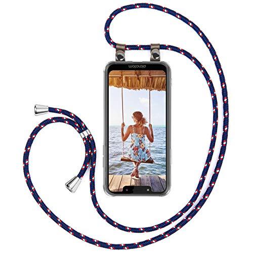 moex Handykette kompatibel mit Motorola Moto G7 Play Hülle mit Band Längenverstellbar, Handyhülle zum Umhängen, Silikon Hülle Transparent mit Kordel Schnur abnehmbar in Blau