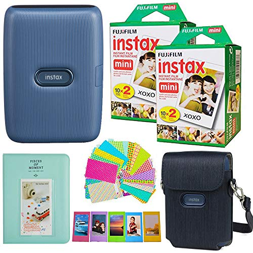 Fujifilm Instax Mini Link Smartphone Printer (Dark Denim) + with Fuji Instant Film (40 Sheets) & Accessories Bundle Includes Case, Album, Stickers, Frames