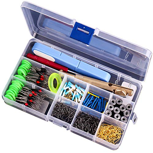 Fishing Terminal Tackle, Add 0.25 Ounces Lead Hook and 100m Fishing line, 7 Types of Fish Hooks, Golden Picture Ring, Soft core Lead seat, Space Bean, Colorful Float seat, Lead roll (Deluxe Edition)